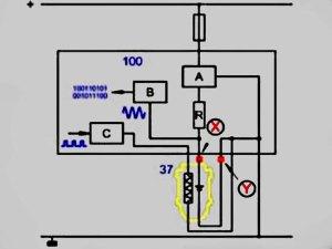 Упрощенная электрическая схема системы измерения кислорода титановым датчиком