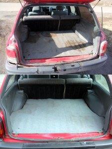 Уборка в багажнике автомобиля удаление масляных пятен и мусора
