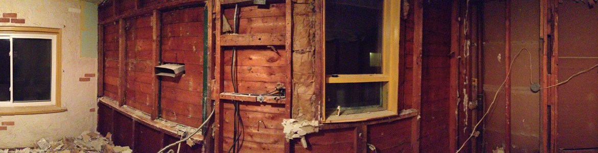 Panoramic view of the kitchen demo