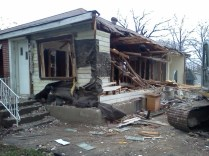 The house coming down - mid demolition