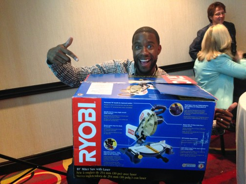 Kes winning the Ryobi laser miter saw courtesy of Home Depot Canada
