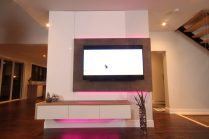 Dreamhouse Project DIY media wall LED lights pink