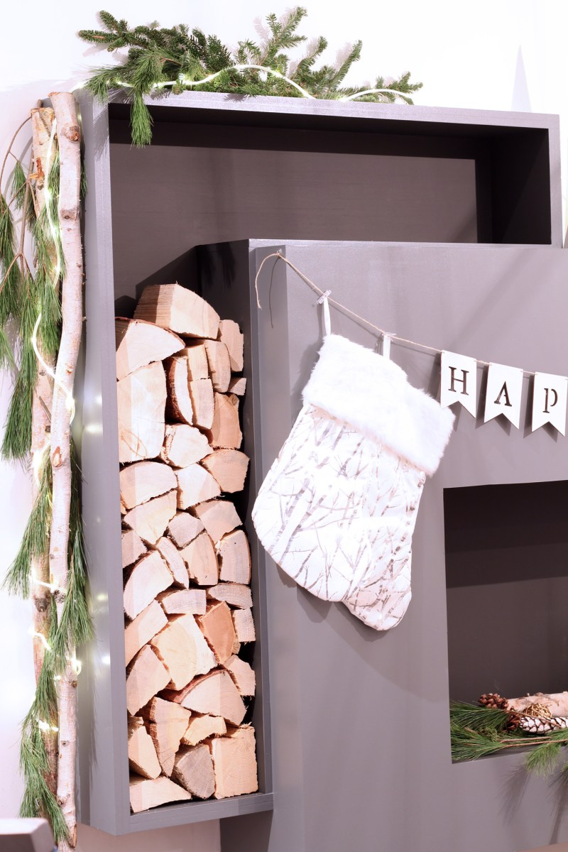 Dreamhouse Project DIY modern faux fireplace feature with firewood storage