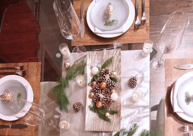 Dreamhouse Project rustic glam Christmas tablescape overhead view