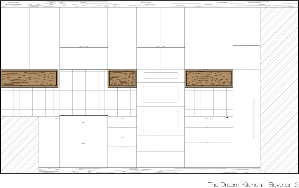 KItchen Elevation showing open storage boxes