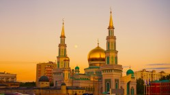 gold-mosque-during-sunset