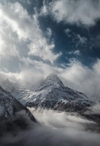 mountain-and-white-clouds