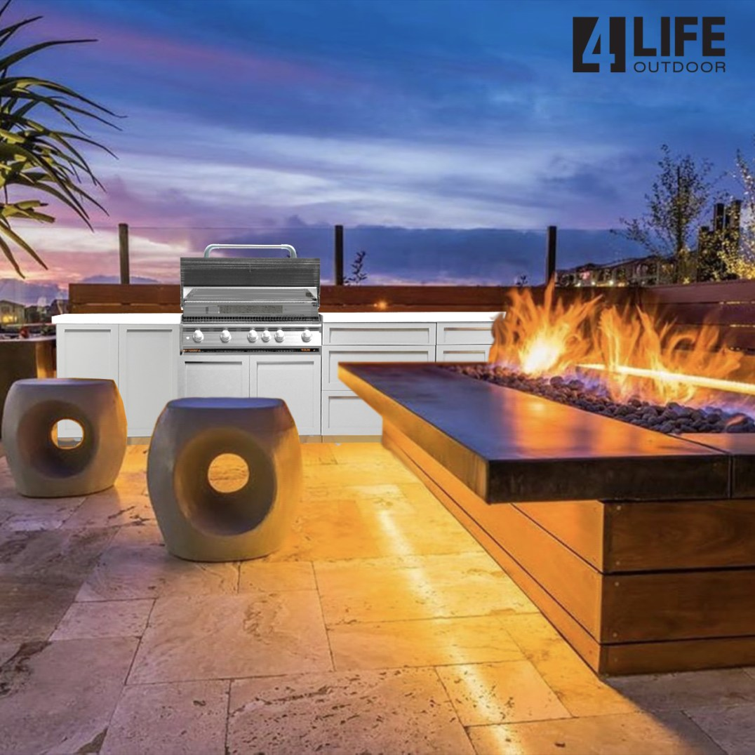 white with fire table on patio