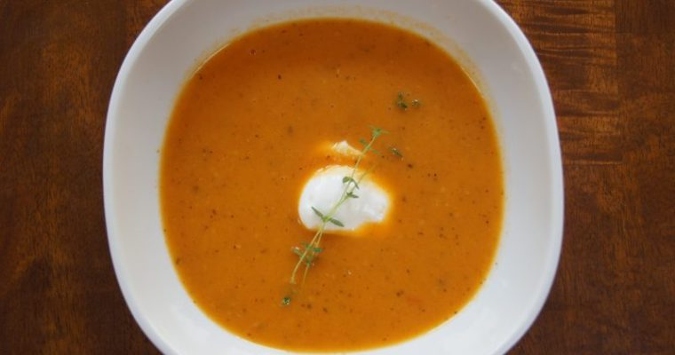 Smoky Roasted Yellow and Red Cherry Tomato Soup