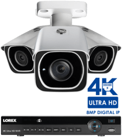 4K IP camera systems offer the highest level of detail and clarity available. The 4K security cameras featured in these IP systems use advanced 8-megapixel image sensors and have approximately four times the amount of pixels as a 1080p HD security camera.