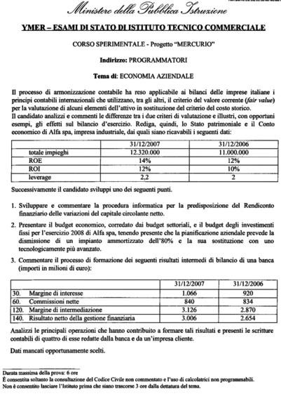 ITCmaturita2008190608 - Maturità 2008: le tracce della Seconda Prova