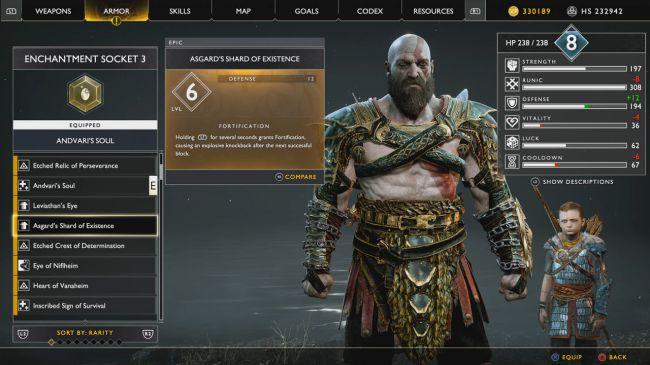 Frammento Esistenza Kratos - Come ottenere il Guanto dell'Infinito su God Of War
