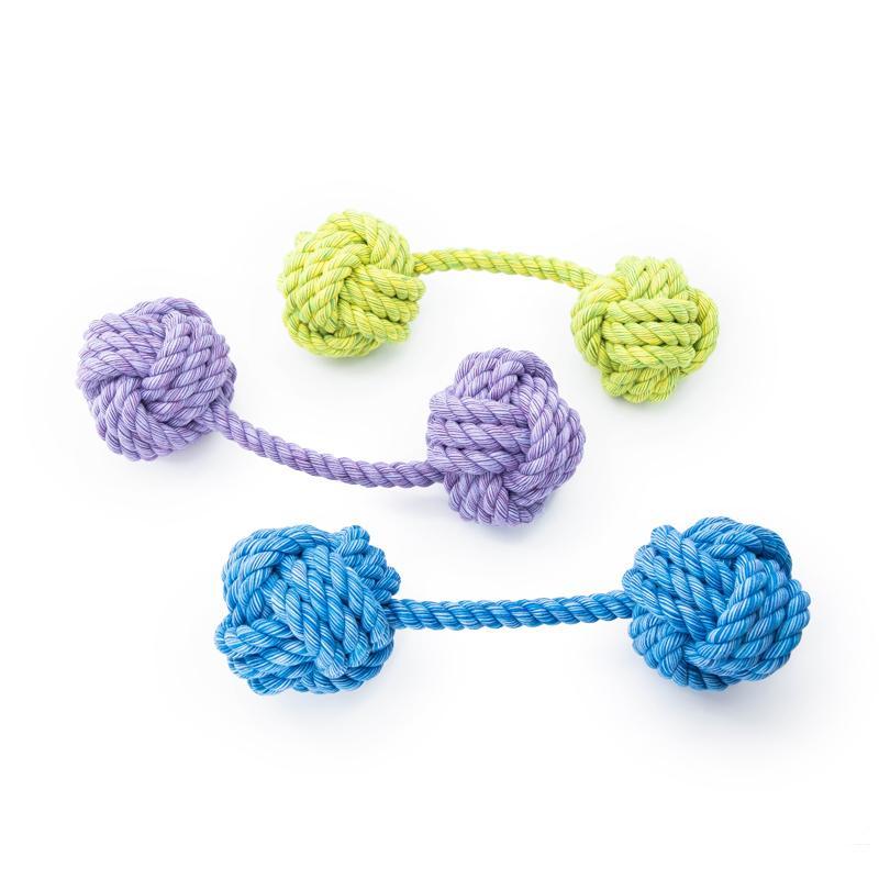 3 verschiedene Farben des Doppelballs Kingsize Nuts for Knots von Happy Pet