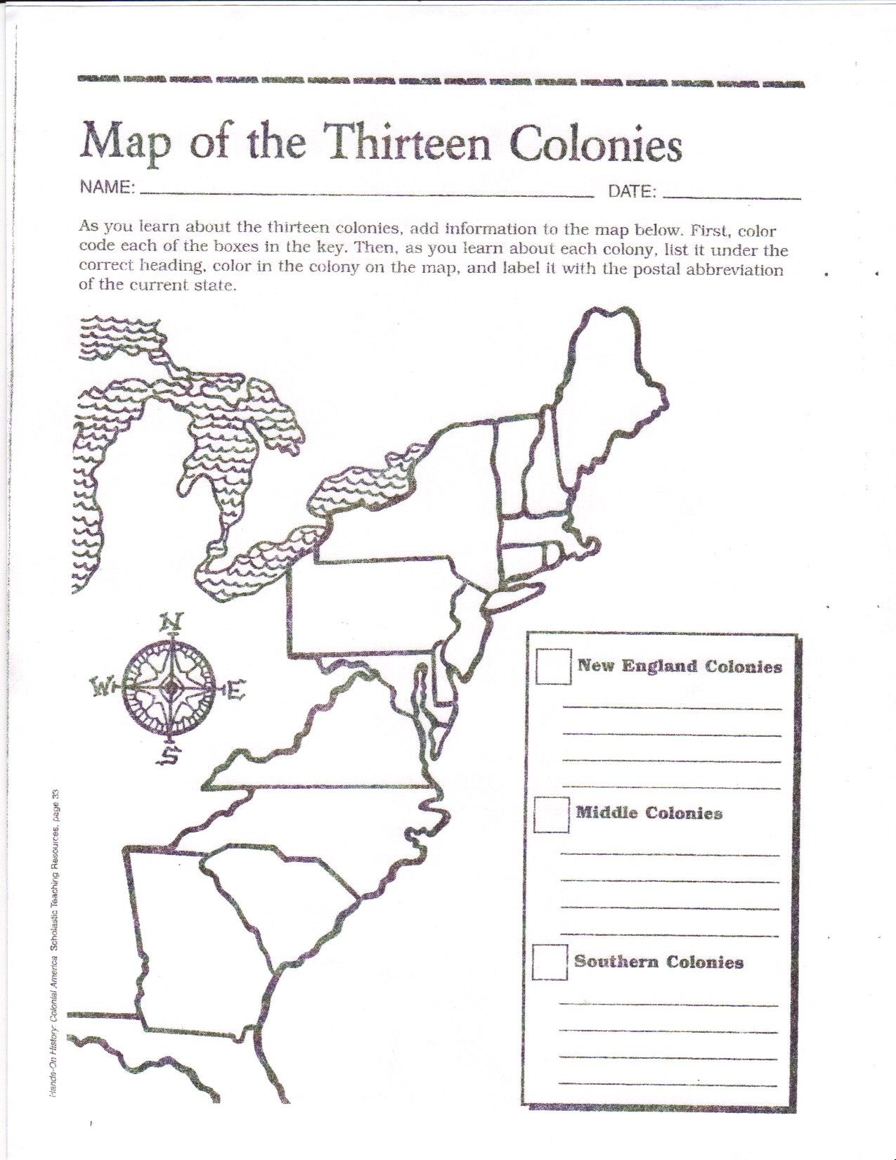13 Colonies Blank Map Printable
