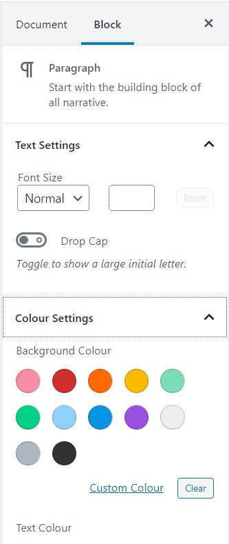 How to change the background colour in a blog post using the WordPress block editor