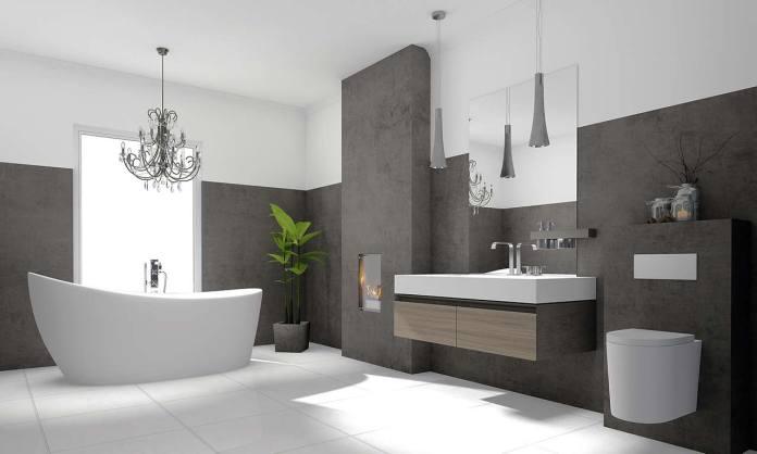 Saubere Toilette in hochwertigem Badezimmer