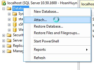 Microsoft SQL Server 2008 Attach