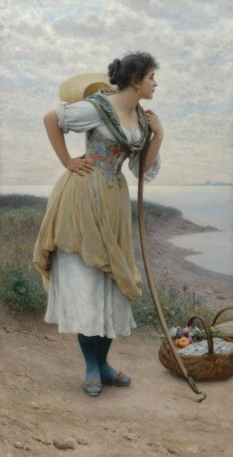 "Eugene de Blaas (Italian, 1843-1932), ""Awaiting the Return"""