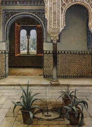 """Manuel López Cantero (Spanish, 19th century), """"Patio del Alcázar de Sevilla"""" (detail)"""