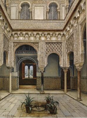 """Manuel López Cantero (Spanish, 19th century), """"Patio del Alcázar de Sevilla"""""""
