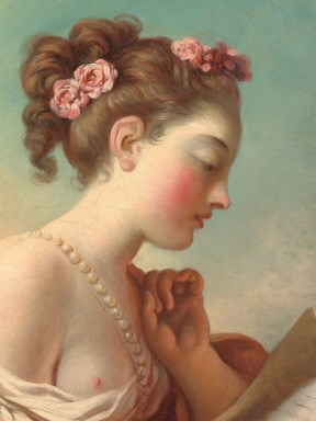 """Jean-Honoré Fragonard (French, 1732-1806), """"Young Woman Reading"""" (detail)"""