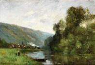 """Paul-Désiré Trouillebert (French, 1831-1900), """"Promeneurs le long d'un fleuve"""""""