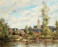 """Paul-Désiré Trouillebert (French, 1831-1900), """"Village au bord d'une rivière"""""""