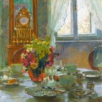 "Carl Moll (Austrian, 1861-1945), ""Der Frühstücktisch"" (""The Breakfast Table"")."