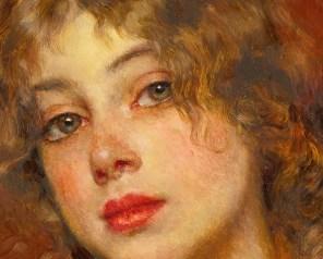 """Eugene de Blaas (Italian, 1843-1932), """"Gipsy Girl"""" (detail)"""