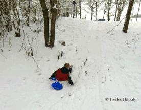 winter-schlitten fahren im schnee