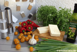 Zutaten für die mit Schafskäse gefüllte Spitzpaprika