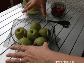 Ein Gummiband hält das Fliegengitter am Gefäß