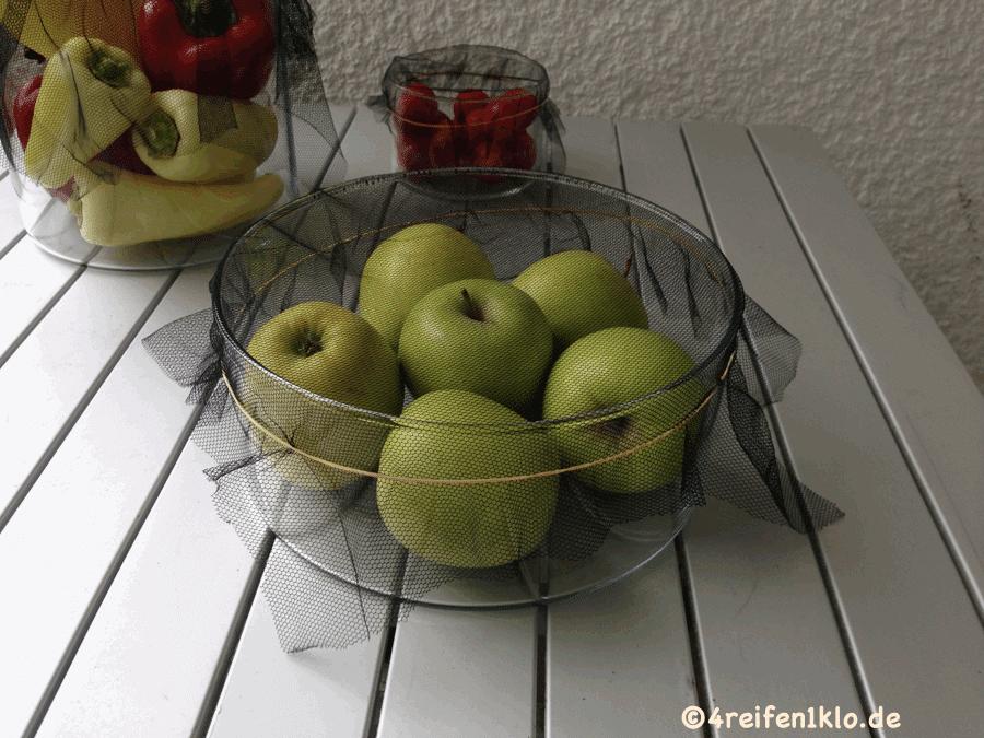 Fliegengitter übers Obst spannen