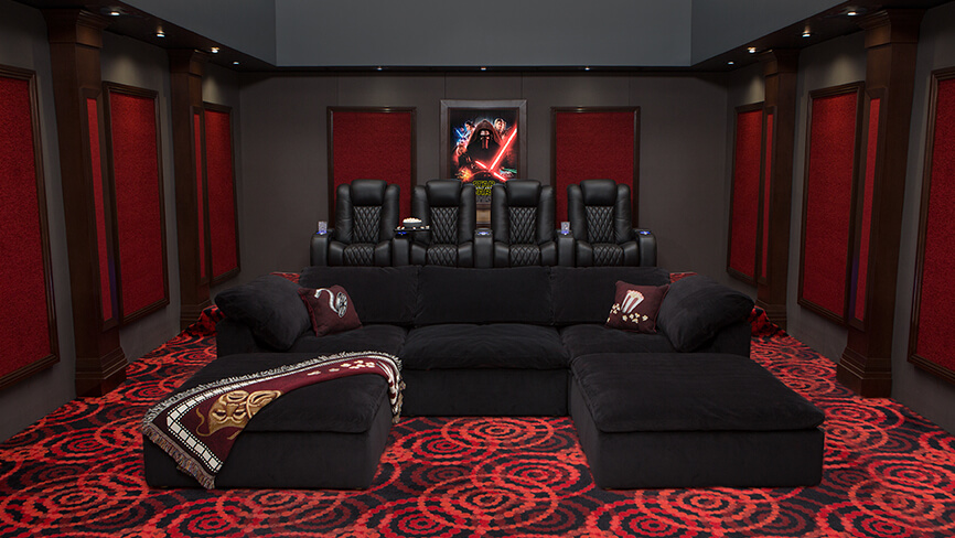 Complete Home Theater Decor Packages   4seating Heavenly Modular Sectional Complete Theater Design
