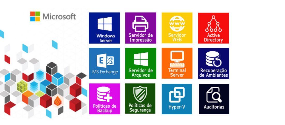Consultoria Microsoft, Windows Server, Servidor de Impressão, Servidor WEB, Active Direcory, Exchange, Servidor de Arquivos, Terminal Server, Recuperação de Ambiente, Políticas de Backup e Segurança, Virtualização Hyper-V e Auditorias