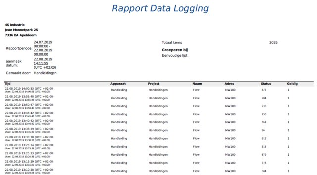 Applicatie voorbeeld data logging PDF rapport