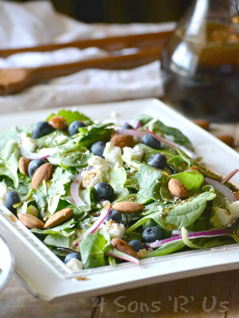 Blueberry Feta Spinach Salad with Lemon Poppyseed Vinaigrette