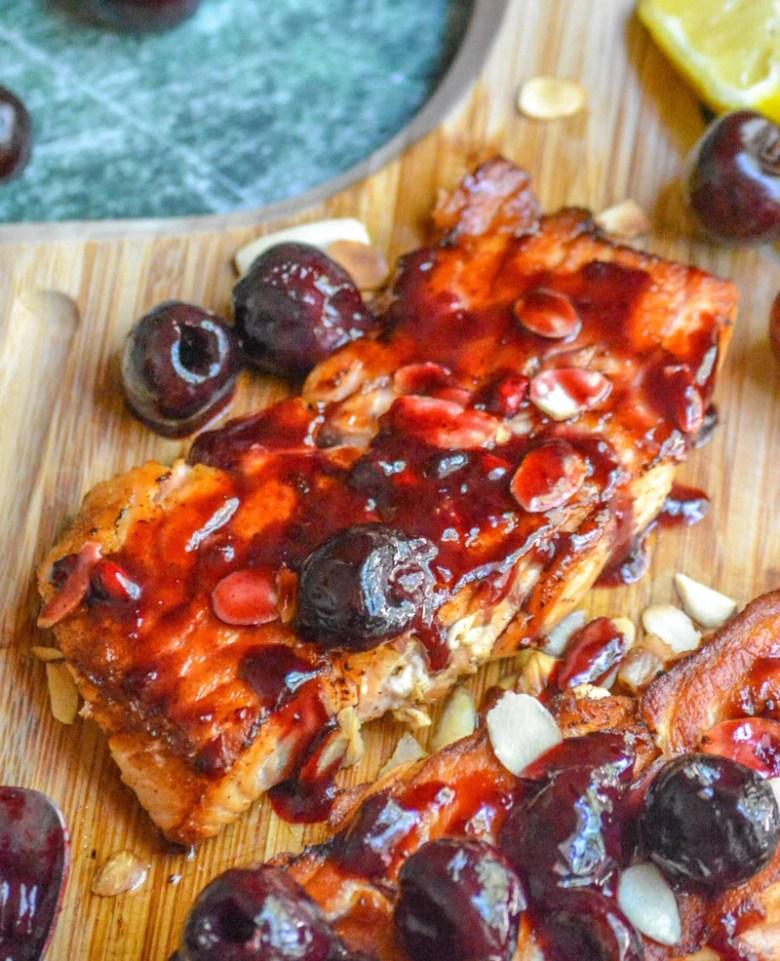 Pan Seared Salmon with Fresh Cherry Almond Sauce