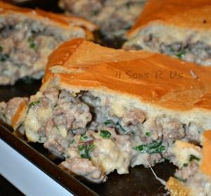 Sausage Alfredo Stuffed French Bread