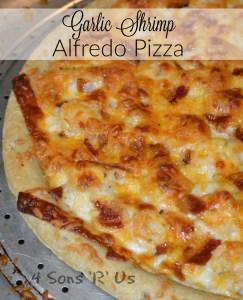 Garlic Shrimp Alfredo Pizza
