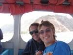 Anna and Kylan enjoying a fast boat ride