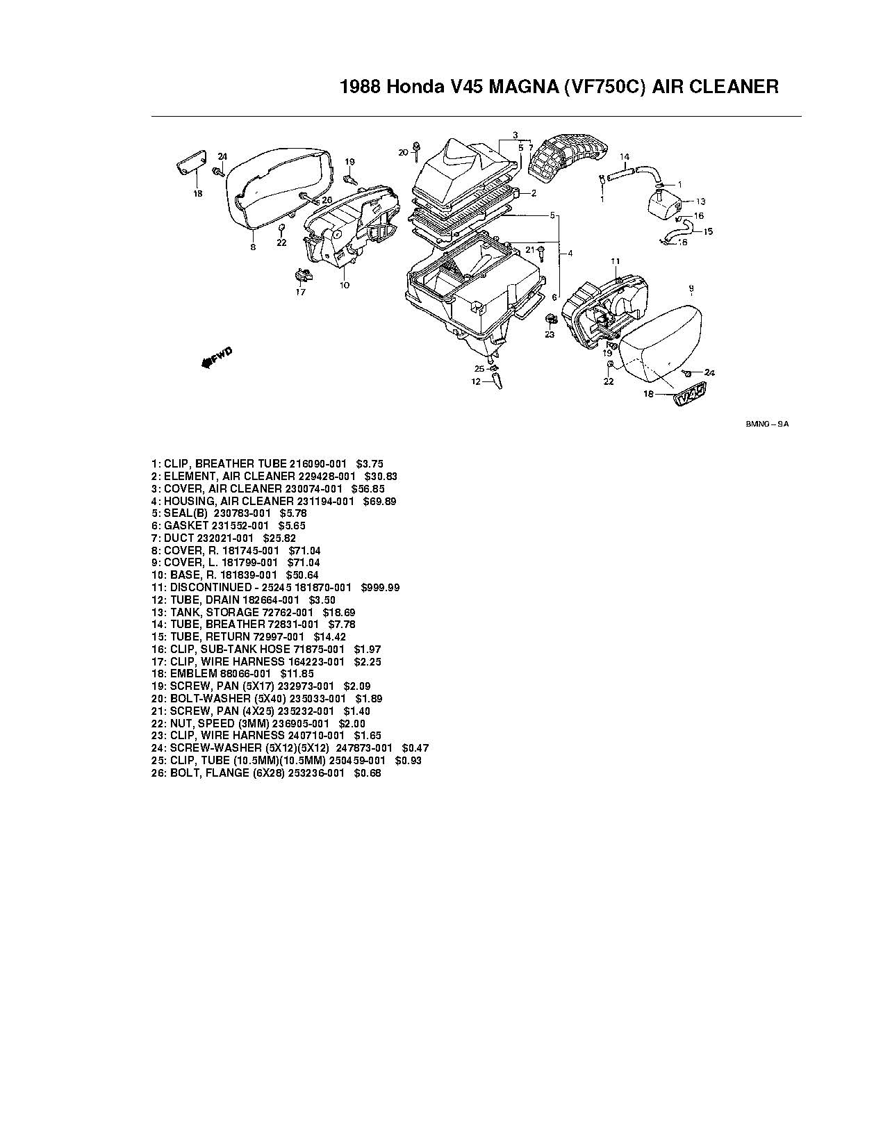 Parts List For Honda Vf750c V45 Has Been Added