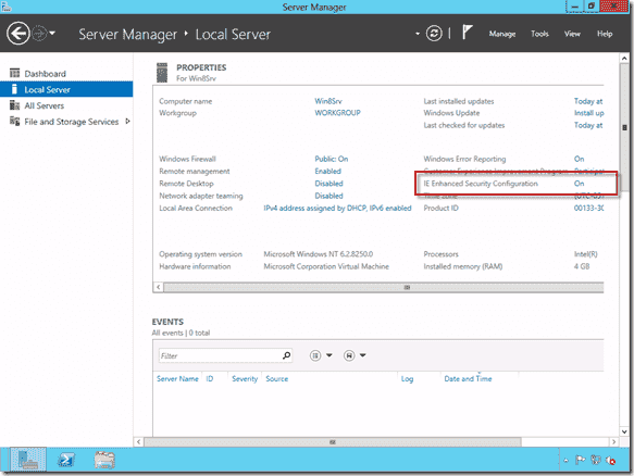 Windows Server 2012 IE Enhanced Security Configuration