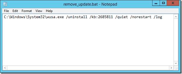 Script to uninstall an update
