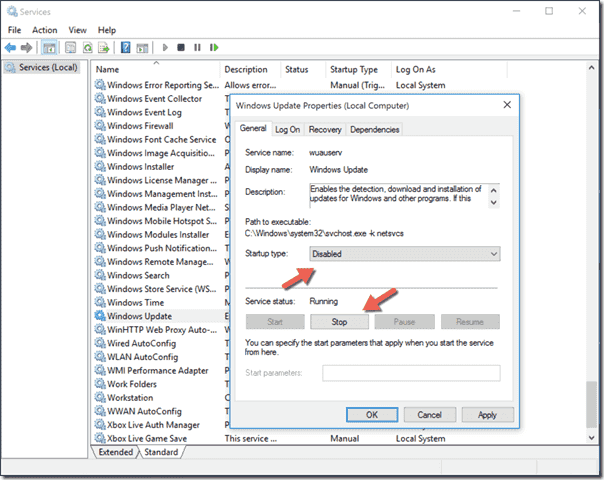نتيجة بحث الصور عن stop Windows Update service Service status