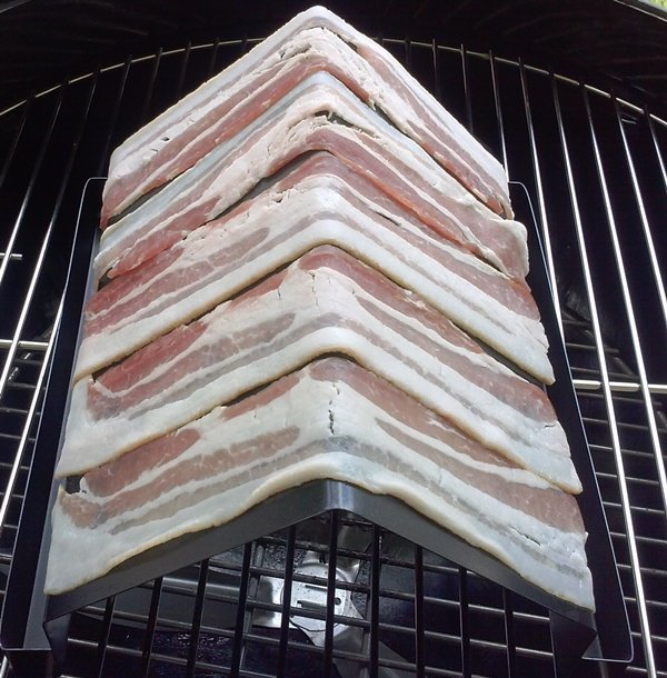 bacon grilling rack raw bacon long