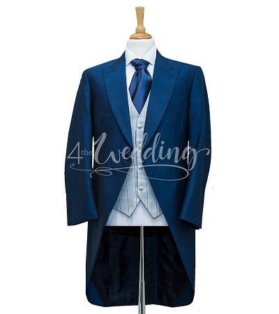 Royal blue full suit tailcoat with a grey and blue check waistcoat and a light pink tie on a manikin wearing a white shirt