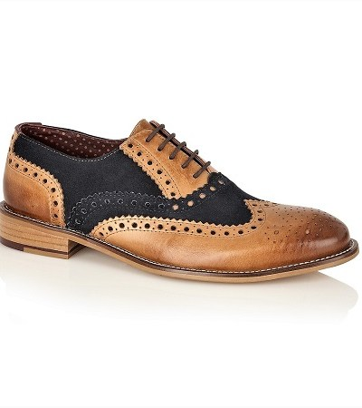 light brown brogues with navy detailing