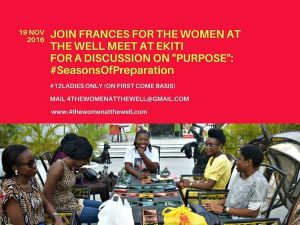 """Something to start your day right:  We are so so excited fo reveal how the women at the well will be closing up 2016 with a bang!  We will be having two meets. Our Lagos meet will hold on 3rd December and for the first time ever, we will be having a meet in Ekiti State, Ado Ekiti to be precise.  For all those who have been complaining about TWTW only being in Lagos, COME THROUGH!  For Ekiti Meet we will be discusing  on """"Purpose: #SeasonsOfPreparation  The meet at Ekiti is for 12 ladies only and its on a first come basis.  Know any lady who should be a part of this?  Have them mail 4thewomenatthewell@gmail.com  Date is Saturday, November 19th 2016.  COME THROUGH ladies. You really really shouldn't miss this.  Our Lagos ladies.. hold up for details of our meet coming up soon.  #Anticipate #Womenofprayer #womenwalkinginpurpose #thewomenatthewell #christianladies #singlesgroupNigeria"""