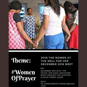 Its happening live.. Tomorrow! All the excitement is making as usual to go back to God. Daddy you must rain on us oh. Fresh fire... Fresh infilling.. Let none of your ladies come and leave empty. The water from the well..pour out fresh on us. You coming? Details on flyer. Tag a sister in Lagos.. she will thank you and thank you when we are done.